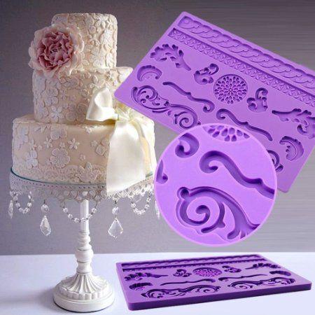 IC ICLOVER  Food Grade Silicone Lace Cake Mold,Fondant ...