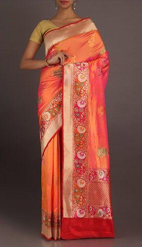 Navya Orange Color Real Zari Pure Banarasi Silk Saree