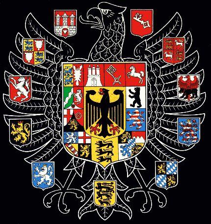 Alemán nacional armas de los Estados de la R.f. alemana y sus predecesores, de arriba a la izquierda: Hamburgo (1450), Bremen (1369), Brunswick-Grubenhagen (1390), Berlín (1460), Hessen (1247), Bayern (1302), Schwaben (1216), Saarbrücken (1284), Rheinpfalz (1252), Westfalen (1480) y Schleswig-Holstein (1386); Pantalla principal: Hamburgo, Bremen, Baja Sajonia, Berlín, Hessen, Bayern, Baden-Württemberg, Saarland, Rheinland-Pfalz, Nordrhein-Westfalen y Schleswig-Holstein.