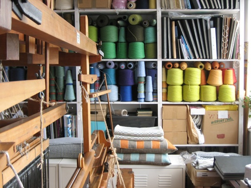 Eleanor Pritchard's weaving studio in South East London - i wish i can have a weaving space like it..