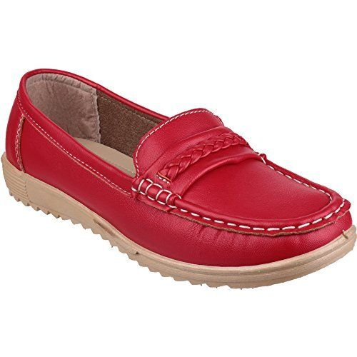 Amblers girls Amblers Ladies Thames Slip On Moccasin Style Shoe Red Red PU  UK Size 7