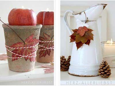 Herbstdeko - Herbstblätter und Äpfel