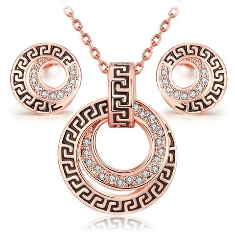 Vintage Platinum 18k Rose Gold Classic Fashion Crystal Necklace Earring Jewelry Set