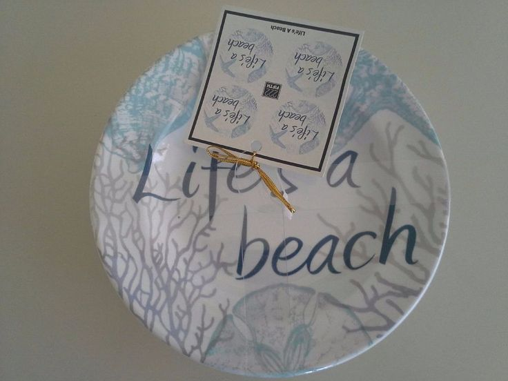 222 Fifth life's a beach appetizer or dessert plate china coastal nautical blue