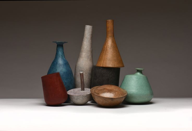 An Unstill Life.  Copper raised, etched and patinated vessels