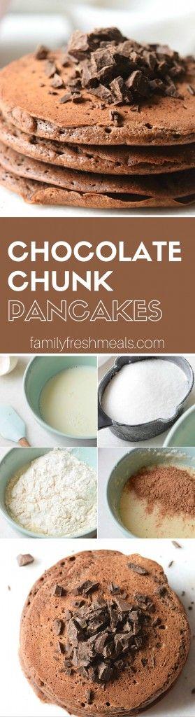 double chocolate chunk pancakes chunk pancakes pancakes breakfast ...
