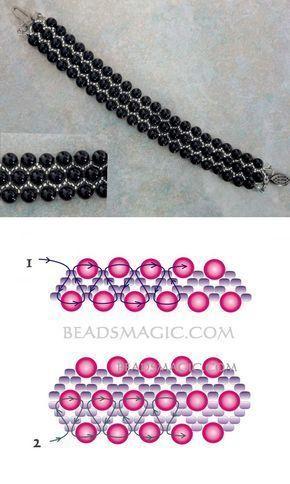 Gratisanleitung für Perlenarmband Black Pearl | Perlen Magie – #Black #für #Gr…