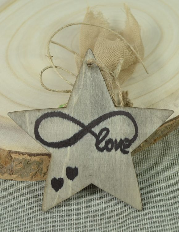 Μπομπονιέρα γάμου ξύλινο αστεράκιlove