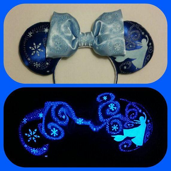 Glow in the Dark  Elsa Mouse Ears Frozen Minnie by Earsboutique
