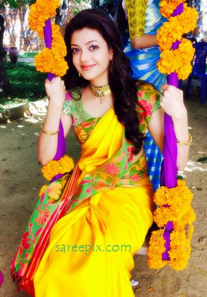 """Kajal agarwal shared a beautiful pic of her in saree on her facebook page. The 30-year old """"Sardaar Gabbar Singh"""" heroine looks pretty in saree."""