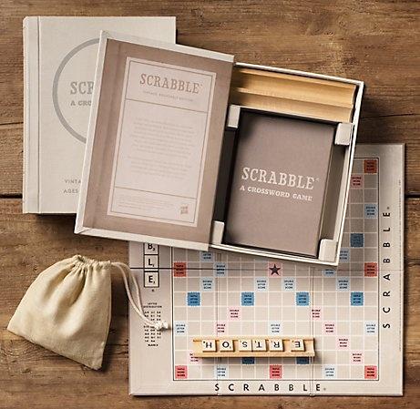 bookshelf scrabble: Restoration Hardware, Gifts Ideas, Vintage Bookshelf, Vintage Wardrobe, Boards Games, Bookshelf Scrabble, Gifts Guide, Bookshelf Libraries, Parents Gifts