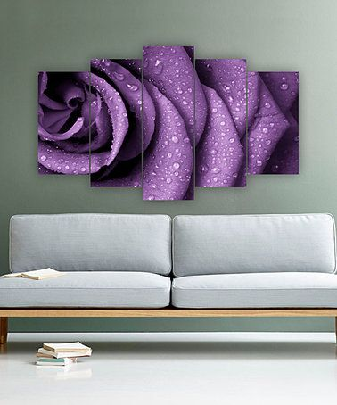 Another great find on #zulily! Purple Rose Five-Panel Wall Art #zulilyfinds