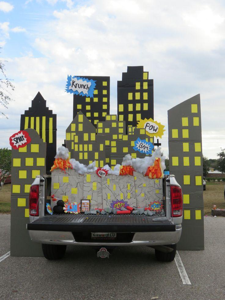 superhero skyline trunk or treat halloween fall festival ideas