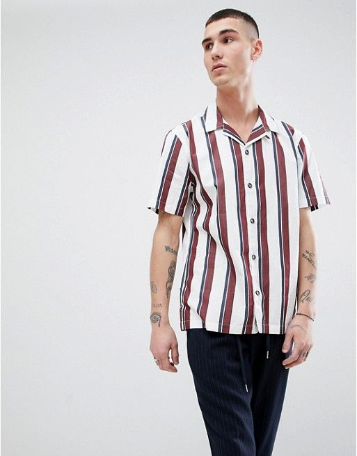 Mango Man Striped Shirt With Revere Collar In White   Style ... 545a36d745