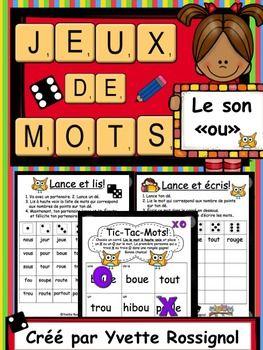 """Jeux de Mots (Le son """"ou"""") Ateliers, No Prep, French Phonics, French immersion)"""