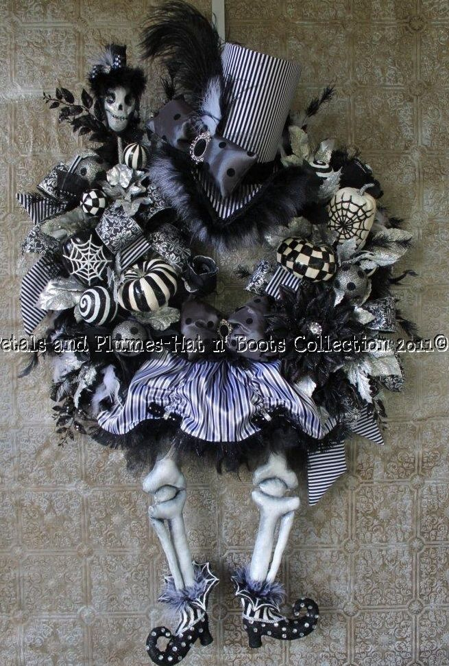 """This was one of my Personal Favorites...I made all of the pieces from the Hat, bones, outfit and shoes..    Halloween Wreath-The Ultimate Skeleton Diva - Halloween Hat n' Boots Collection©"""""""