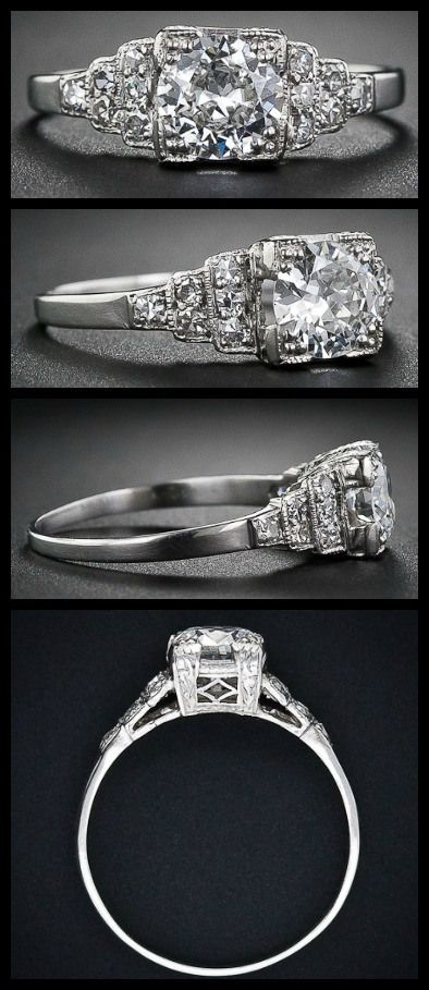 Art Deco diamond engagement ring with a European-cut diamond, weighing .60 carats, circa 1930s. Via Diamonds in the Library. (A Diamond Affair)