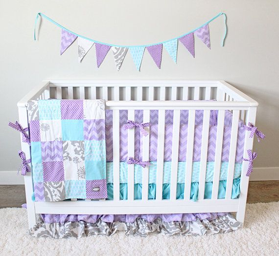 This listing is for a custom bedding set from Giggle Six Baby. This listing includes:  Ruffle Crib Skirt Patchwork Blanket Bumpers Crib Sheet  Add