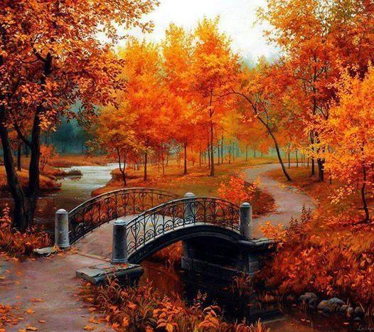 Beautiful Autumn Painting Bridge Beautiful Nature Art