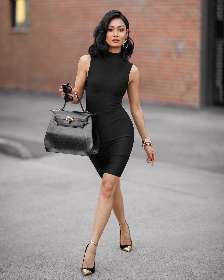 """Little black dress & a little gold ✨ Dress from @mybandagedress Use code MICAH for 10% off"""
