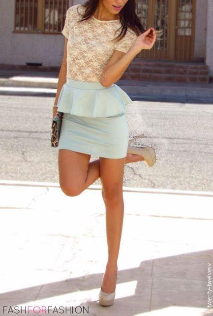Peplum skirt + mesh blouse.
