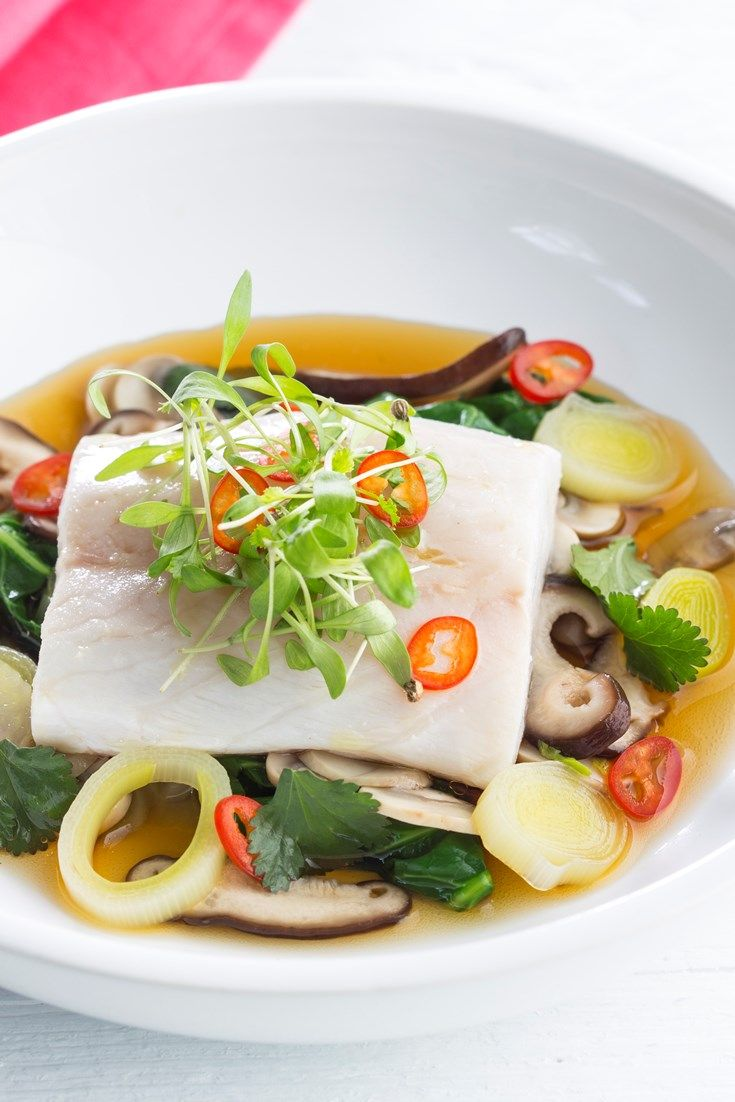 Martin Wishart serves up steamed sea bass fillets atop a fragrant Japanese mushroom broth recipe.