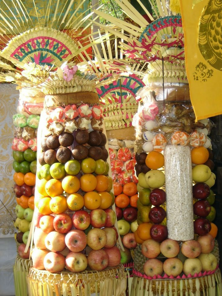 Bali Indonesia Holiday Travels: Gebogan Offerings | Bali Prosperity Blessing Symbo...