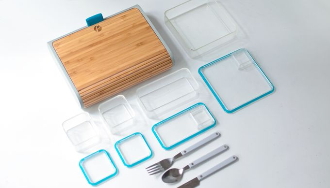 The outside of the Prepd Pack is made from bamboo. Inside, it looks similar to a bento box. The lunchbox comes with magnetic silverware and four BPA-free containers in a variety of portion sizes.