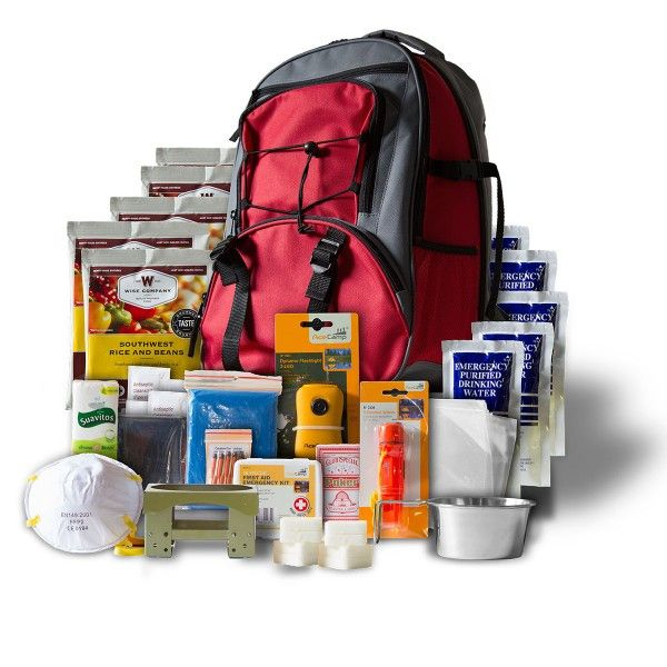 5 Day Emergency Survival First Aid Kit with Food & Water for One Person RED