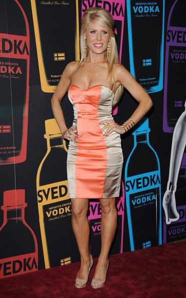 Gretchen Rossi Strapless Dress - Gretchen Rossi donned this striped satin cocktail dress to the Night of a Billion Reality Stars.
