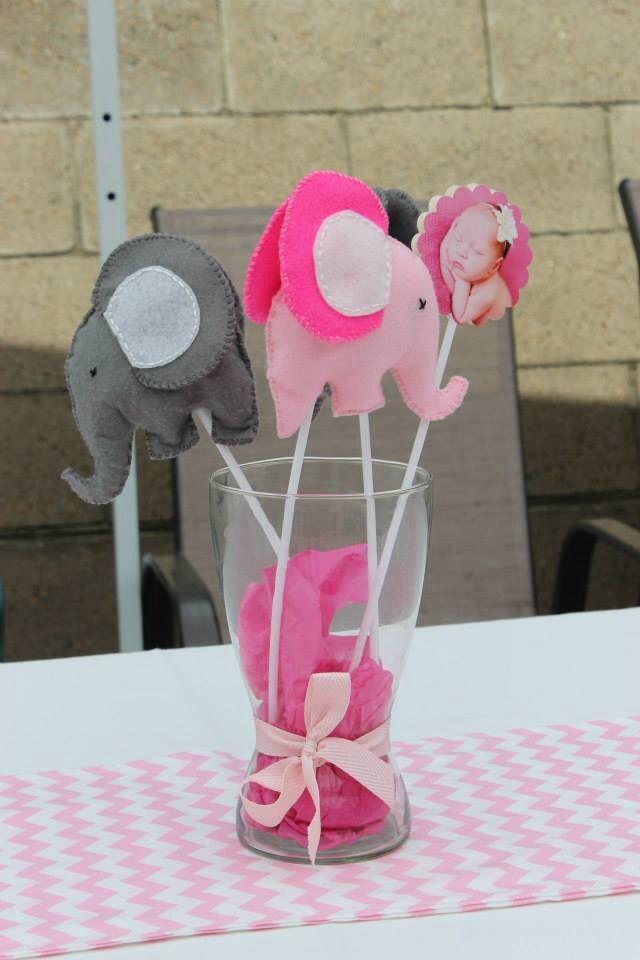 1st Birthday Elephant theme felt elephants pink chevron