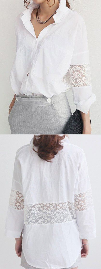 White Shirt with Lace Insert Sleeve