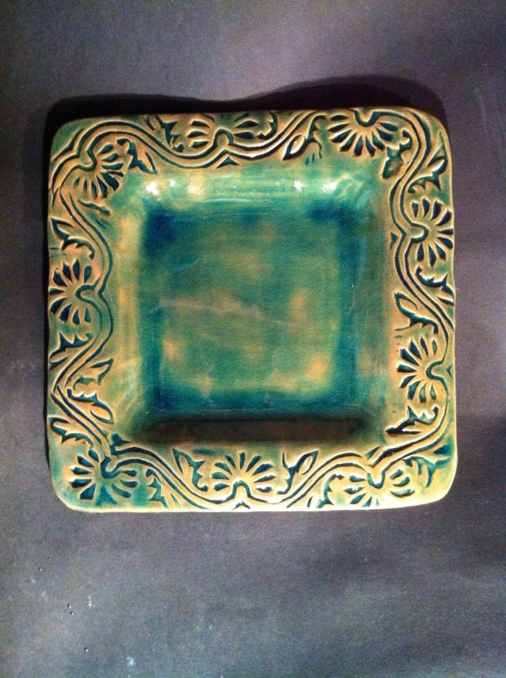 Front of green square plate