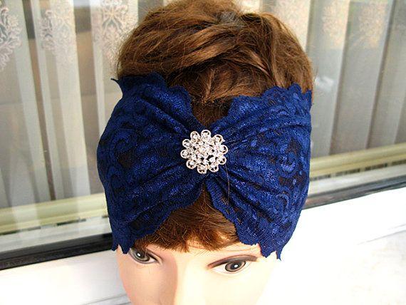 Navy Blue Elastic Lace headband Rhinestone Button by nezoshop