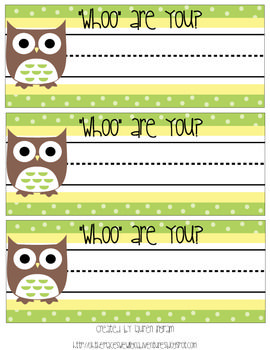 Cute Owl Name Tags for Student Desks