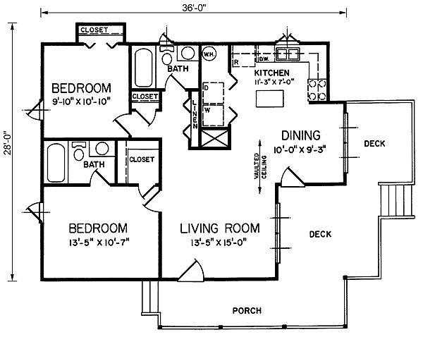 Cottage Style House Plan - 2 Beds 2 Baths 922 Sq/Ft Plan #66-301 Floor Plan - Main Floor Plan - Houseplans.com