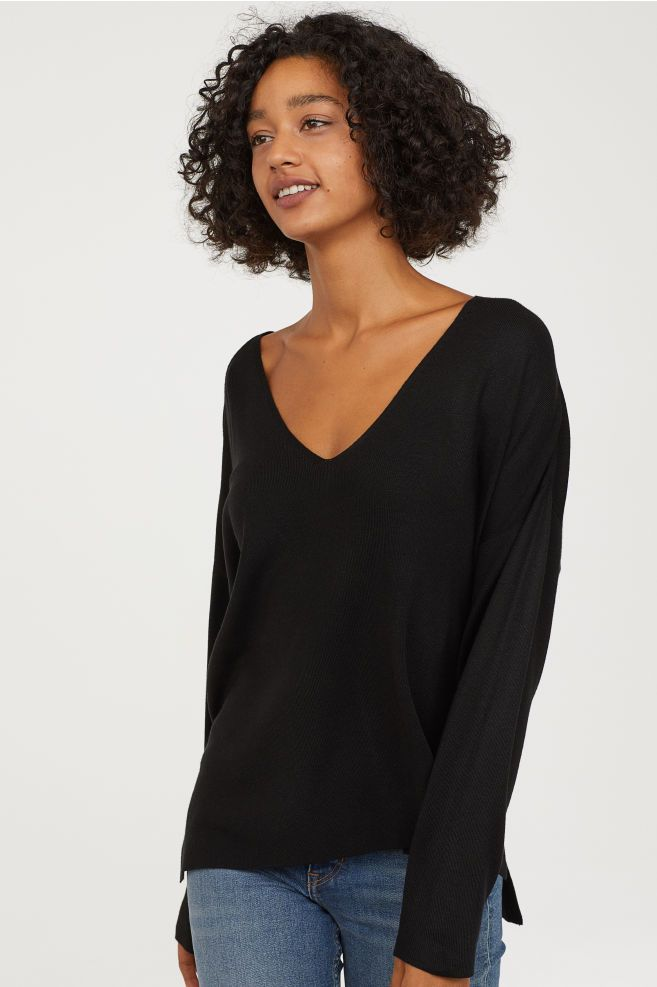 5b58ff82cad395 Fine-knit Sweater in 2019 | Tops #2 | Sweaters, Black sweaters ...