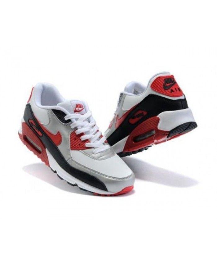 Mens Nike Air Max 90 White Silver Red Black 6809331-392 ...