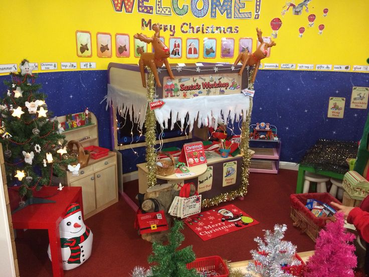 My new role play area, Santa's workshop. The kids love it! I also have a decoration station in front of it with trees and decorations for the kids to decorate themselves.