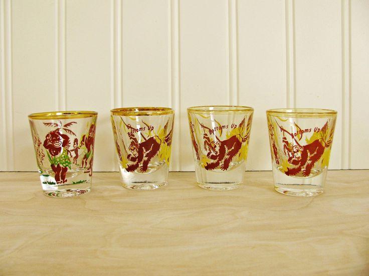 Vintage Monkey Shot Glasses Bottoms Up Rumpus Shot Glasses Native Mid Century Shot Glass Set Funny Shot Glass Mid Century Barware by HipCatRetroVintage on Etsy