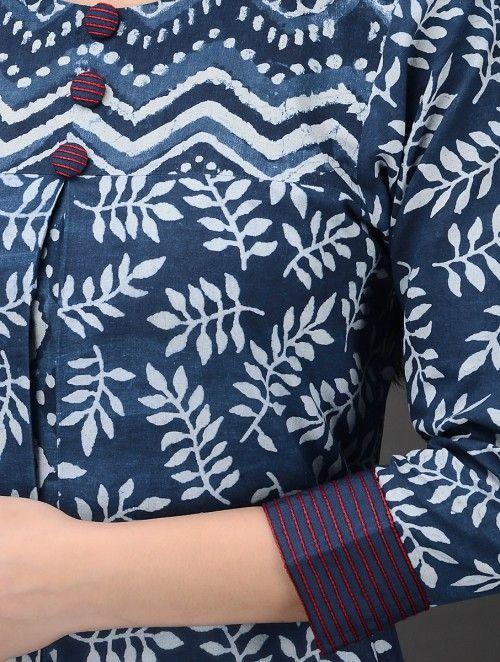 Indigo-White Dabu-Printed Embroidered and Pleated Cotton Kurta