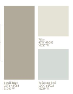 Main floor wall colors: CIL Scroll Beige, CIL Pillar and CIL Reflecting Pool