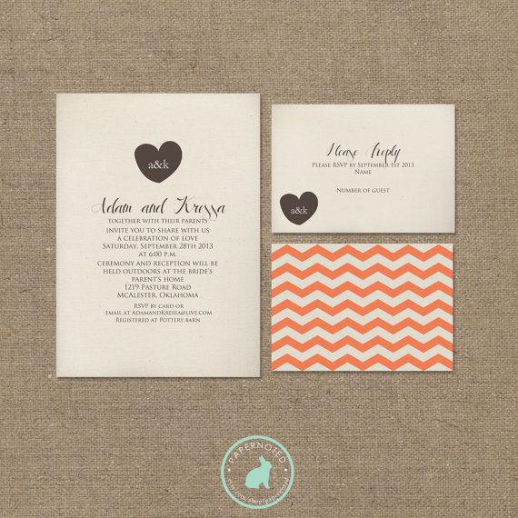 Diy Wedding Invitations Pinterest: Simple Wedding Invitation (DIY Printables) On Etsy, $20.00