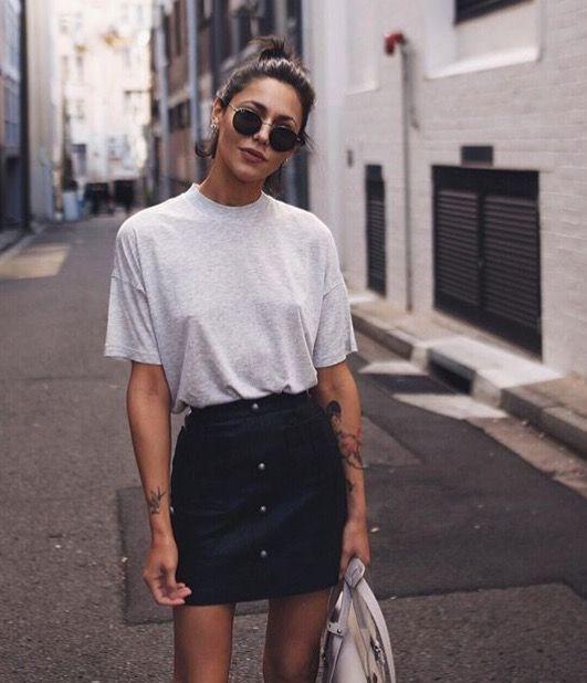 Grey marl t-shirt & black button-down skirt | @styleminimalism