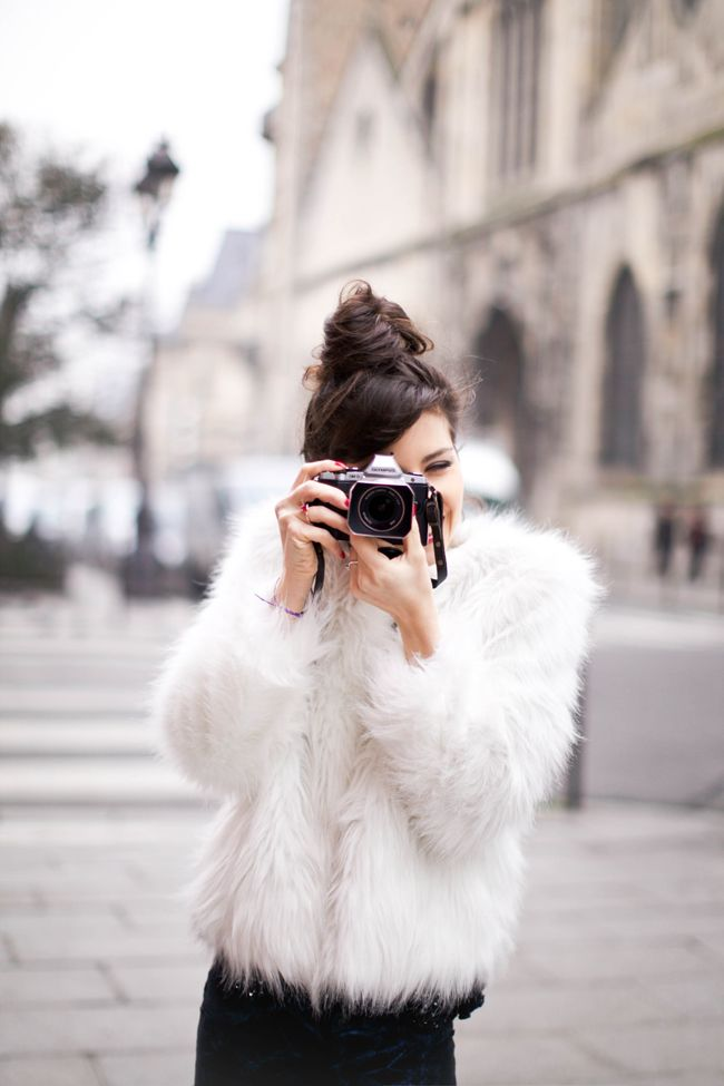 Paris street style. I can't get over faux fur coats <3