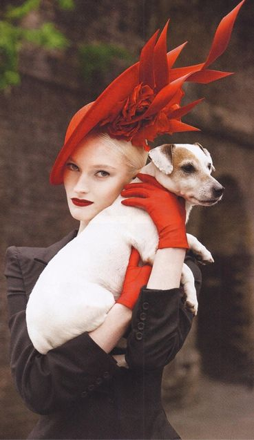 Little Archie and Helena wearing a Philip Treacy hat on Harper's Bazaar Thailand January 2014. Photographed by Garda Tang. Hats and dogs--best accessories!