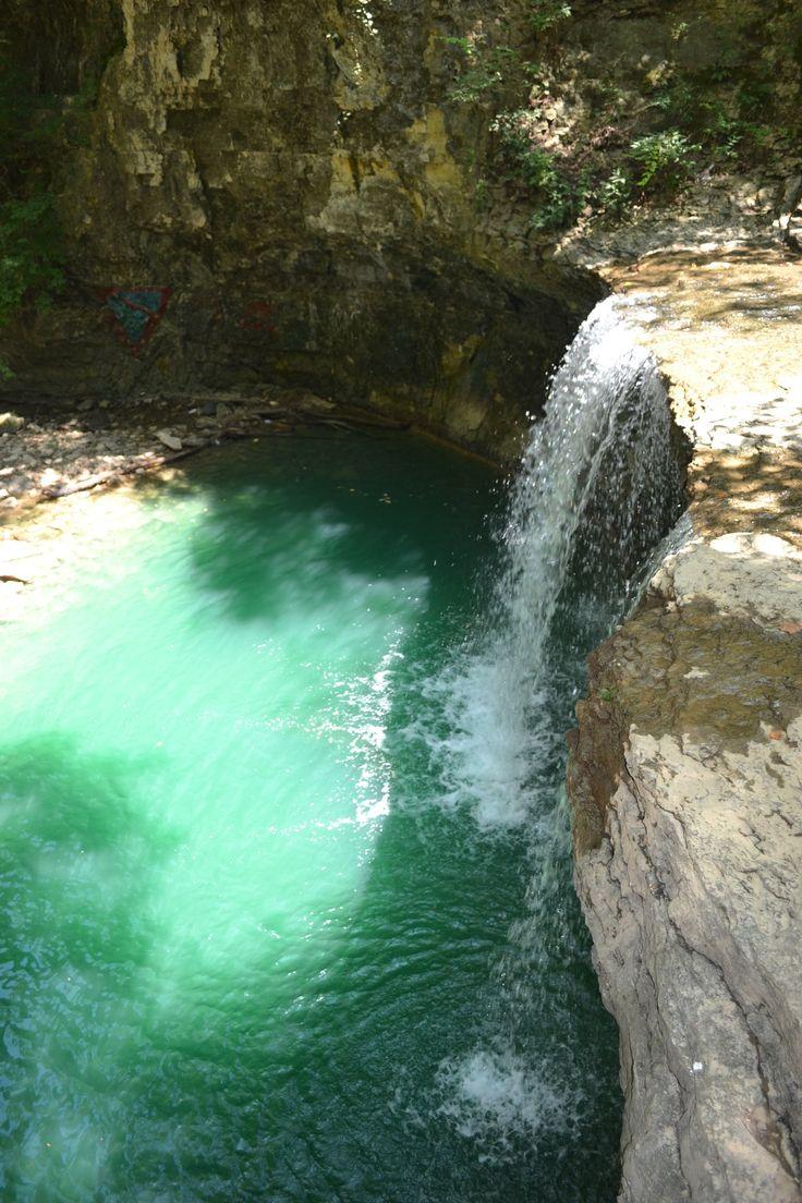 Surprisingly emerald waterfall in suburban Columbus Ohio