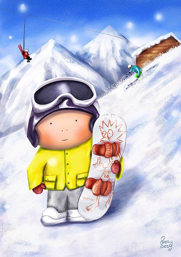 Открытка сноубордистка