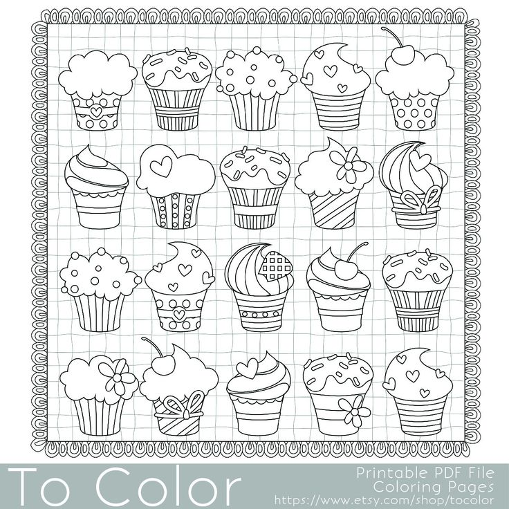 whimsical cupcake coloring pages - photo#21