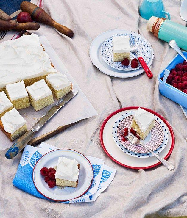 Australian Gourmet Traveller recipe for buttermilk and vanilla cake with raspberries.#cake #buttermilk